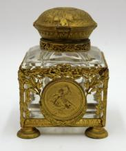 Beautiful French Bronze Mounted & Crystal Inkwell