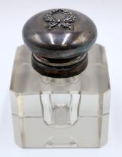 Beautiful Sterling & Glass Inkwell