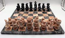 Grey & Pink Marble Chess Set