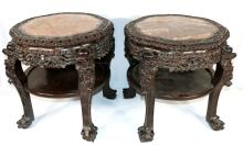 Pair of Antique Chinese Carved Rosewood Marble Top Tables