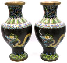 Pair of Antique Chinese Cloisonne Dragon Vases