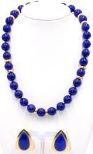 14Kt YG & Lapis Lazuli Necklace & Earrings Suite