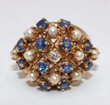14Kt YG Diamond, Sapphire & Pearl Ring