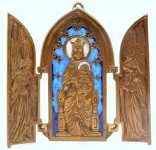Dominique Piechaud (French 1922-2011) Enamel & Bronze Religious Triptych
