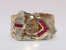 14Kt YG Ruby & Diamond Adjustable Buckle Ring