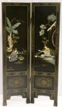 Antique Chinese Figural Jade & Semi-Precious Stone 2-Panel Screen