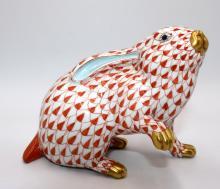 Herend Hand Painted Porcelain Fish Net Rabbit