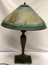 Pairpoint Reverse Painted Glass & Bronze Table Lamp