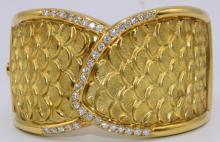 Italian 18Kt YG 1.65ct. Diamond Bangle