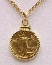 Liberty $5 Gold Coin Pendant w/ 18Kt Necklace