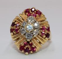 14Kt YG Diamond & Ruby Ring