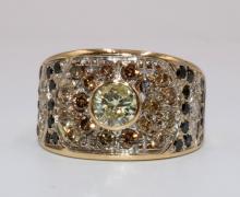 14Kt YG Multi-Colored Diamond Ring