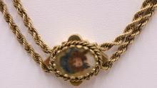 Vintage 14Kt YG 2-Strand Rope Pendant Necklace