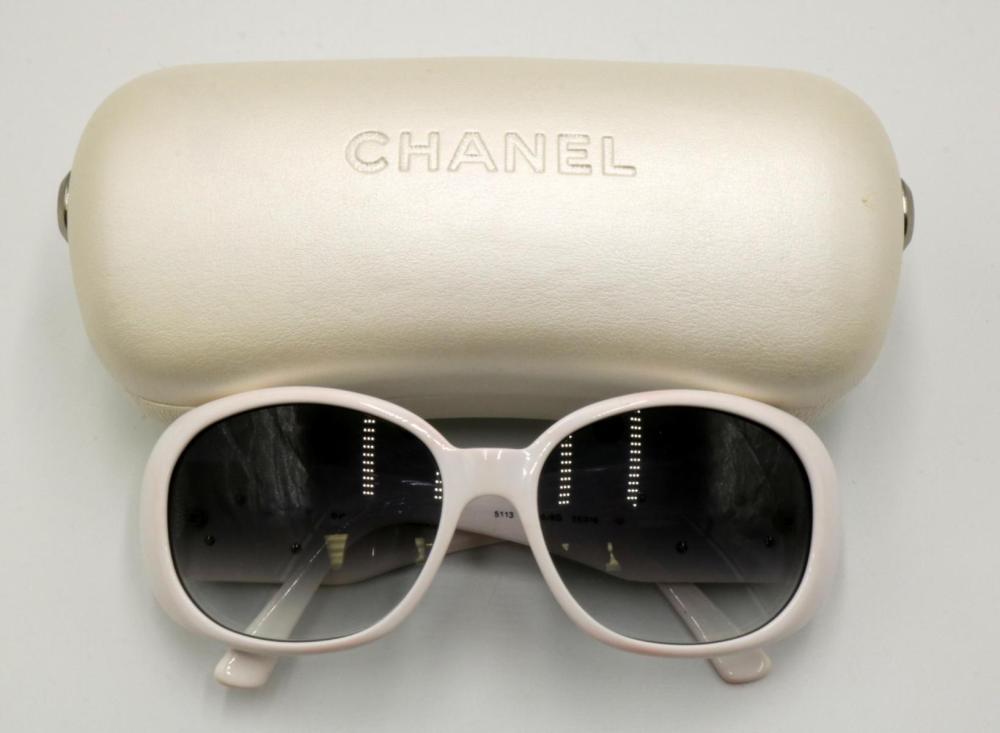 Chanel White & Black Floral Sun Glasses