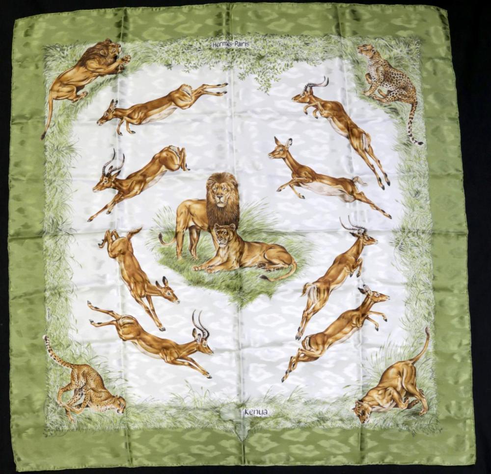 """Hermes 100% Silk """"Kenya"""" Scarf"""