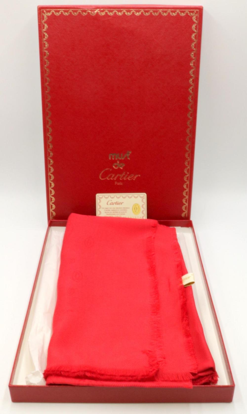 Cartier Silk & Wool Red Logo Shawl