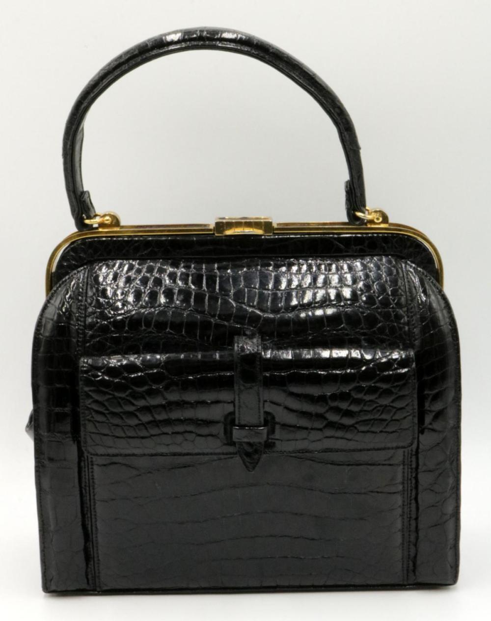 Vintage Lucille de Paris Black Alligator Purse