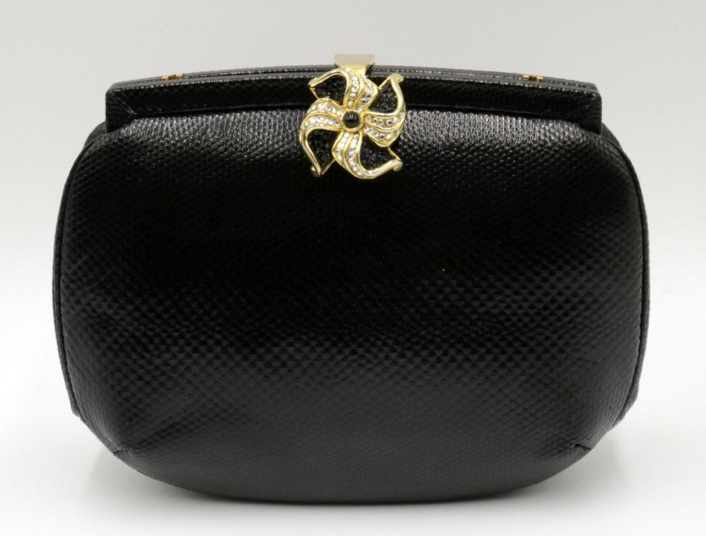 Judith Leiber Black Karung Evening Bag