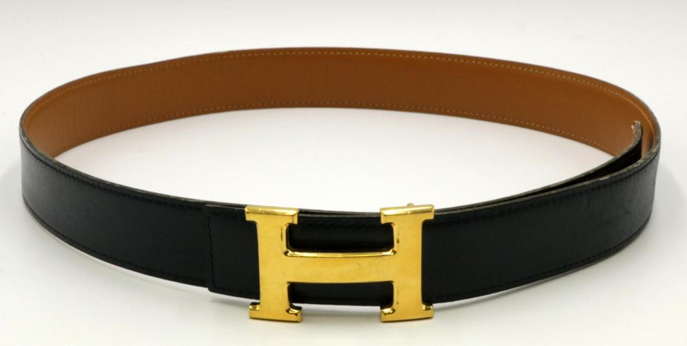 Authentic Hermes Gold Tone Buckle & Leather Belt