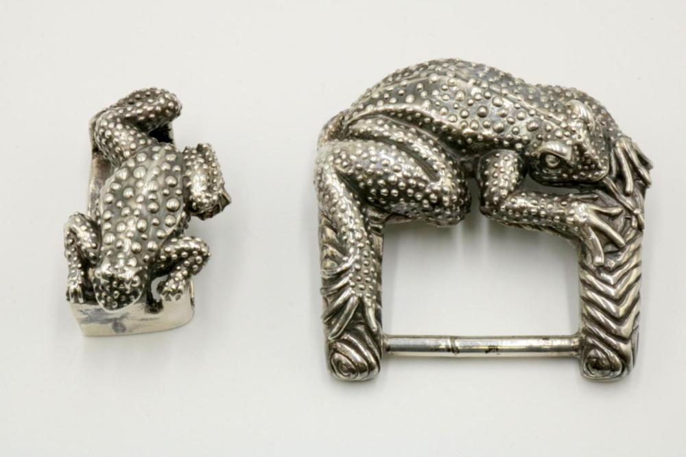 Jeff Deegan Sterling Silver Frog Belt Buckle Set