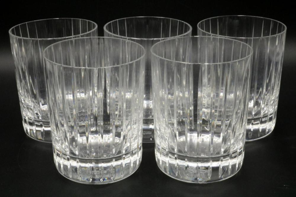 """5 Pc. Baccarat """"Harmonie"""" Crystal Double Old Fashioned Tumblers"""