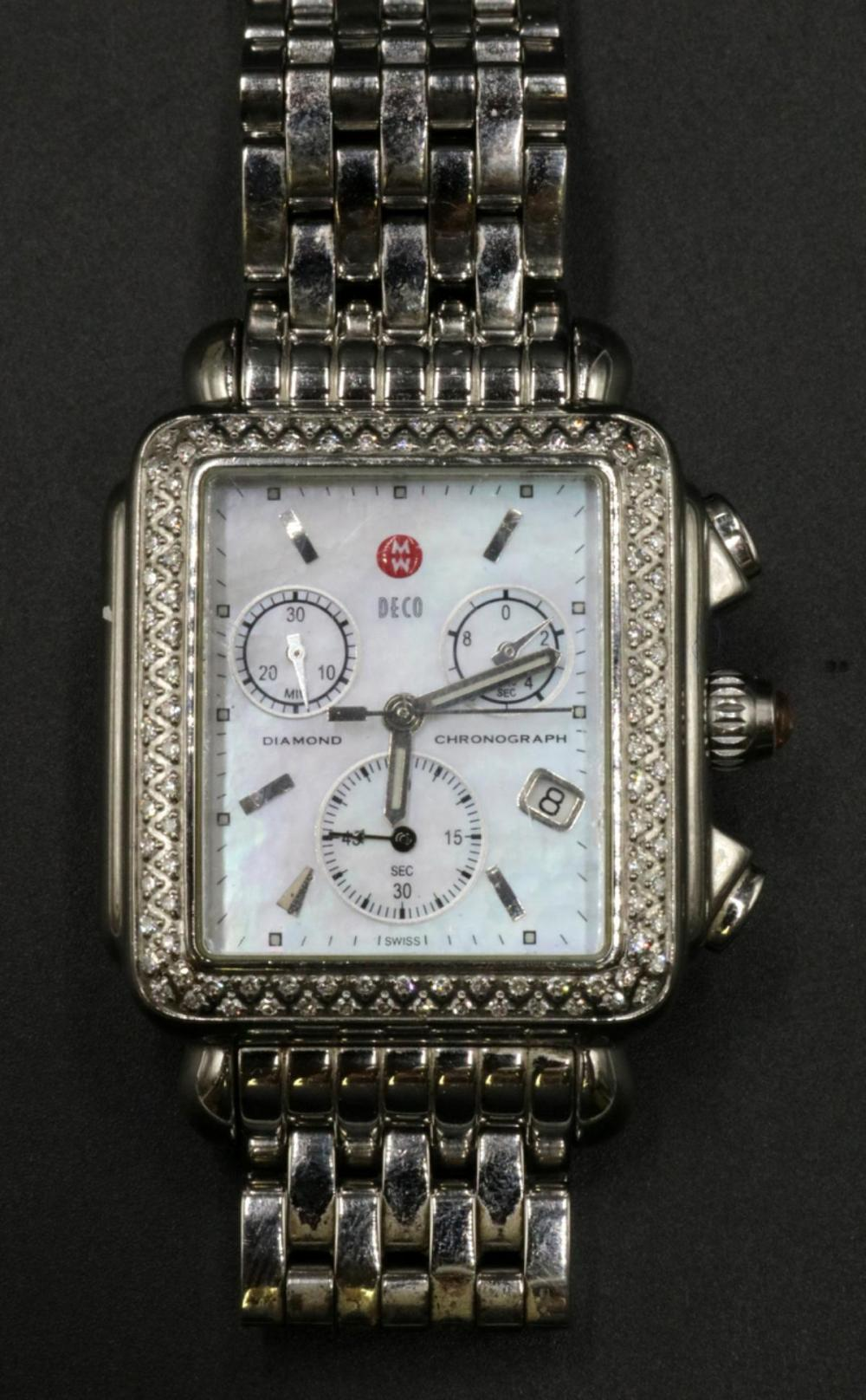 "Michele ""Deco"" 1.35ct. Diamond & Stainless Steel Watch"