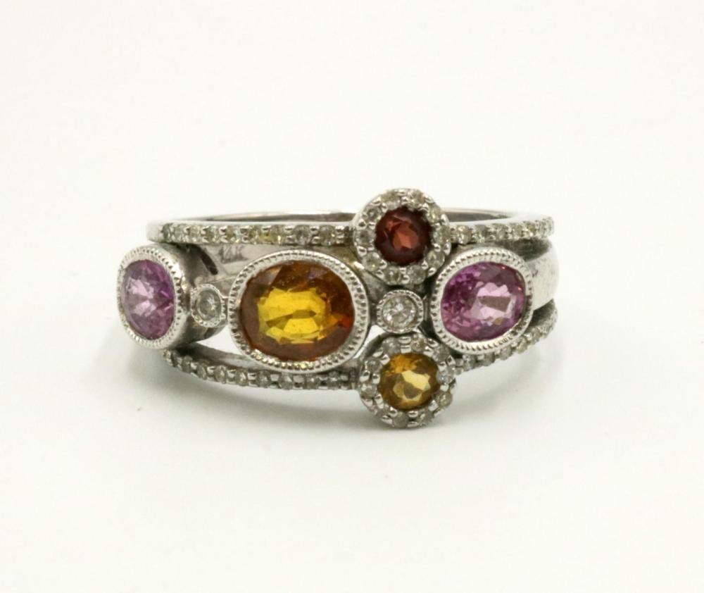 14Kt Citrine, Diamond & Pink Tourmaline Ring