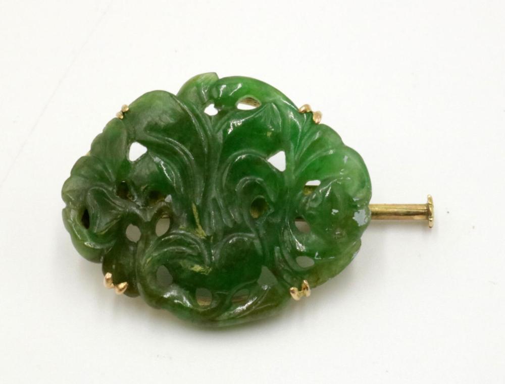 14Kt Carved Green Jade Brooch