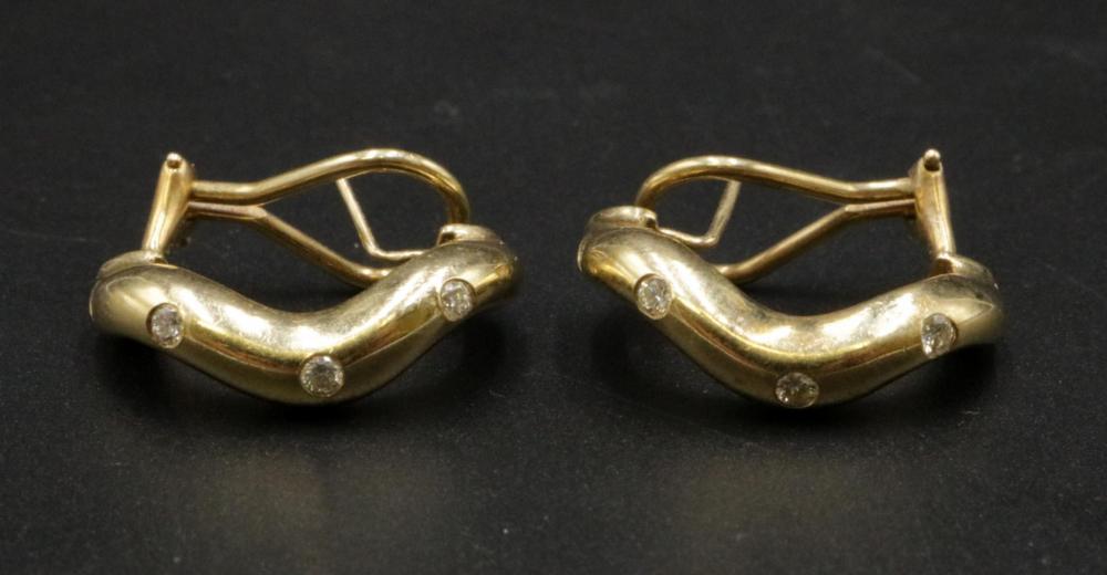 14Kt Diamond Hoop Earrings
