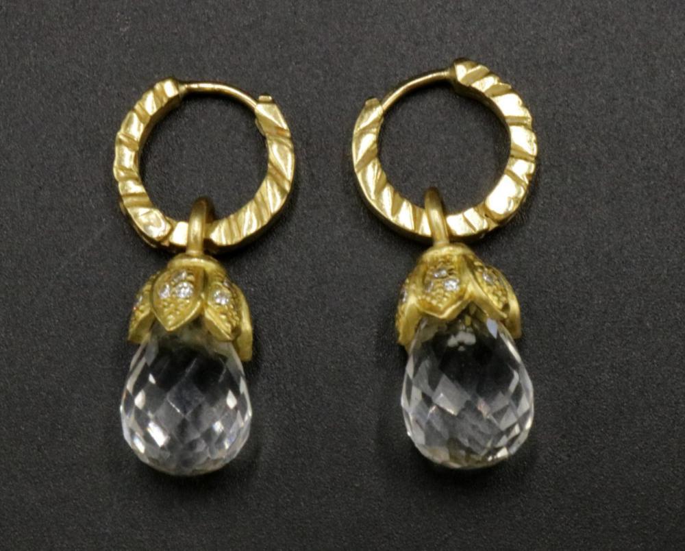 Judith Ripka 18Kt Diamond & Crystal Earrings