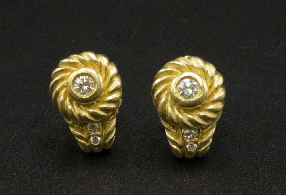 Judith Ripka 18Kt & Diamond Earrings