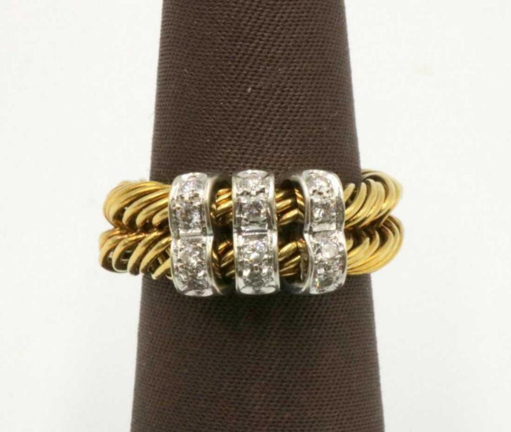 Pomellato 18Kt Weave Design Diamond Ring