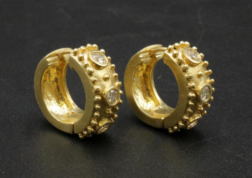 18Kt & Diamond Huggie Earrings