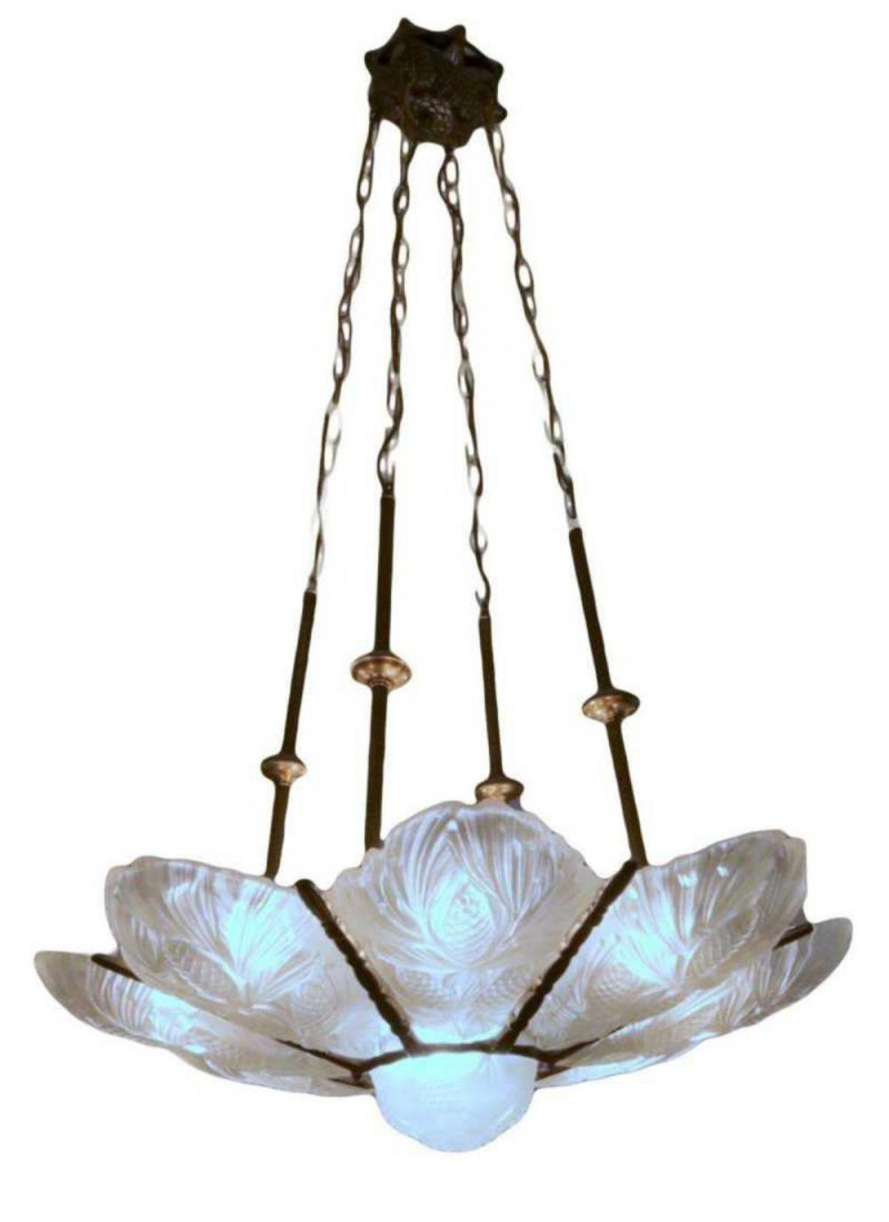 Signed Sabino Art Deco Frosted Glass Chandelier