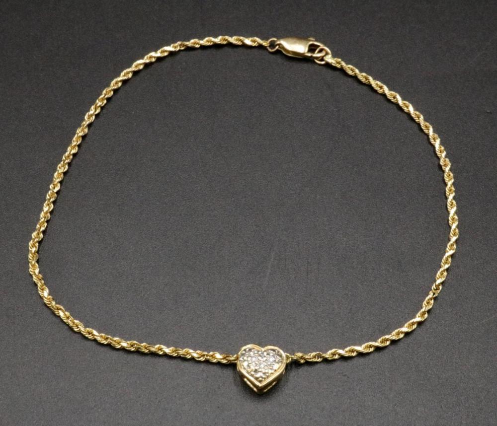 14Kt Diamond Heart Ankle Bracelet