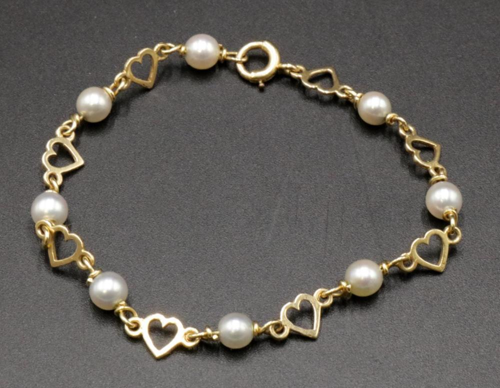 Tiffany & Co. 14Kt & Pearl Bracelet