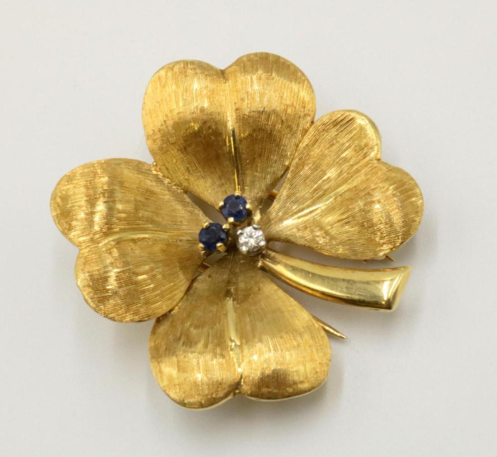 Vintage Tiffany & Co. 14Kt 4 Leaf Clover Brooch