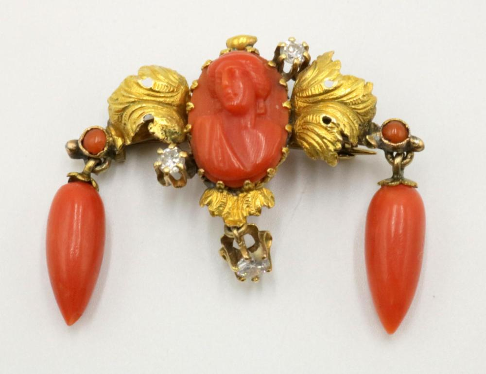 14Kt Carved Red Coral & Diamond Brooch