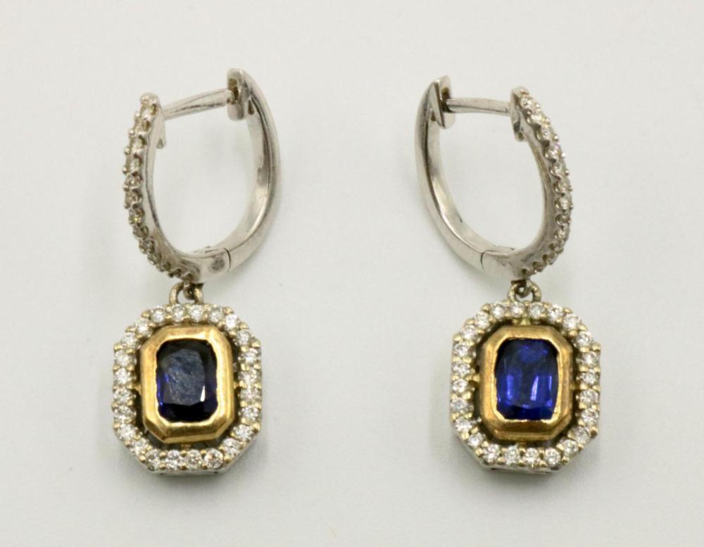 18Kt Two-Tone Sapphire & Diamond Earrings