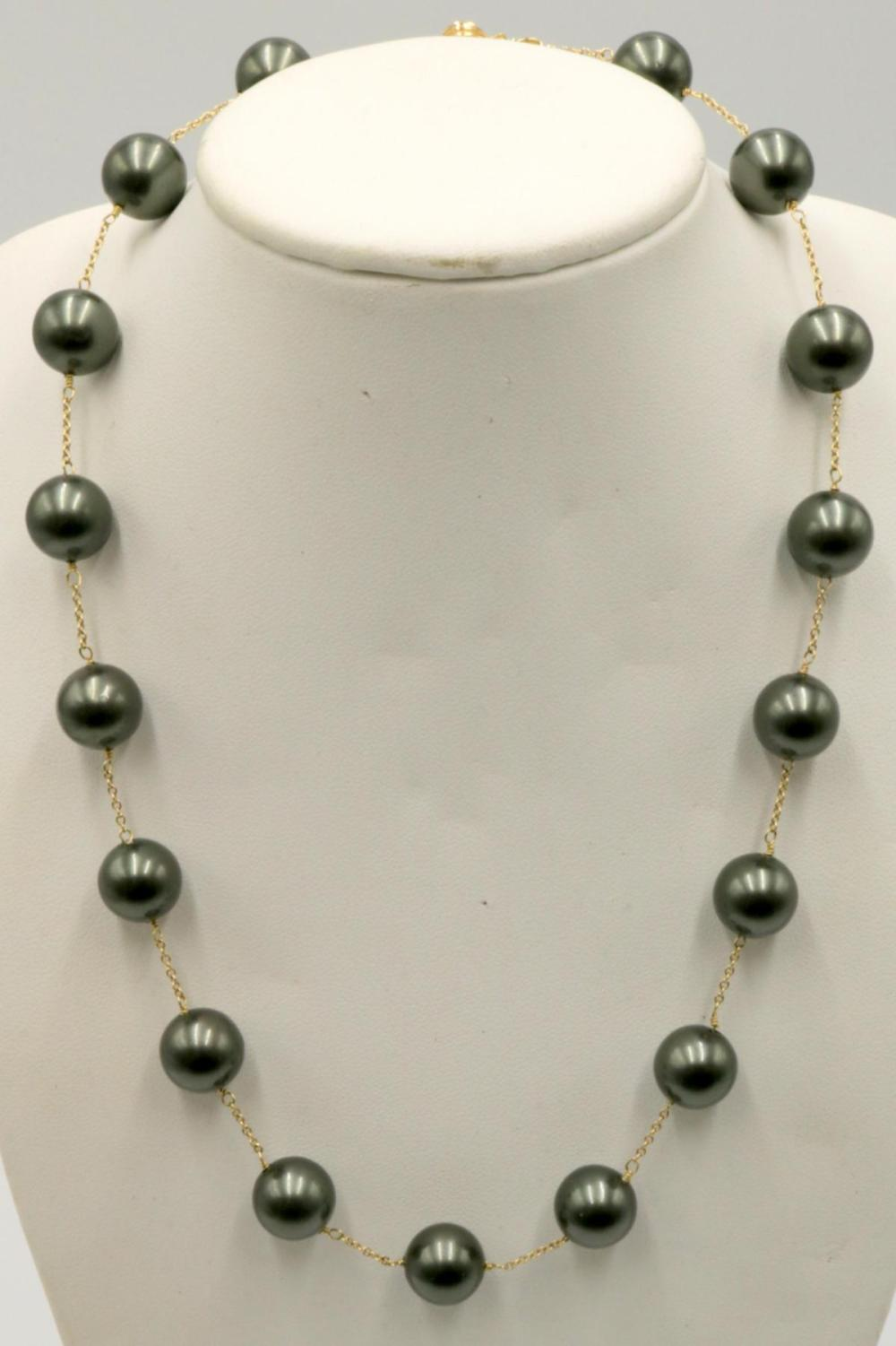 14Kt & Tahitian Pearl Necklace
