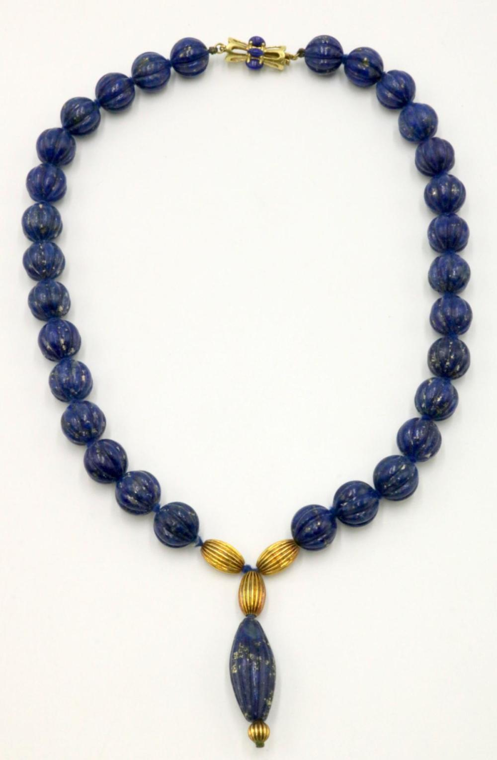 14Kt & Lapis Beaded Necklace
