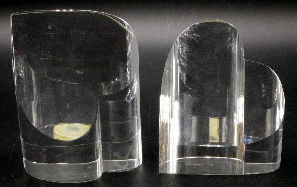 Pair of Steuben Crystal Heart Paperweights