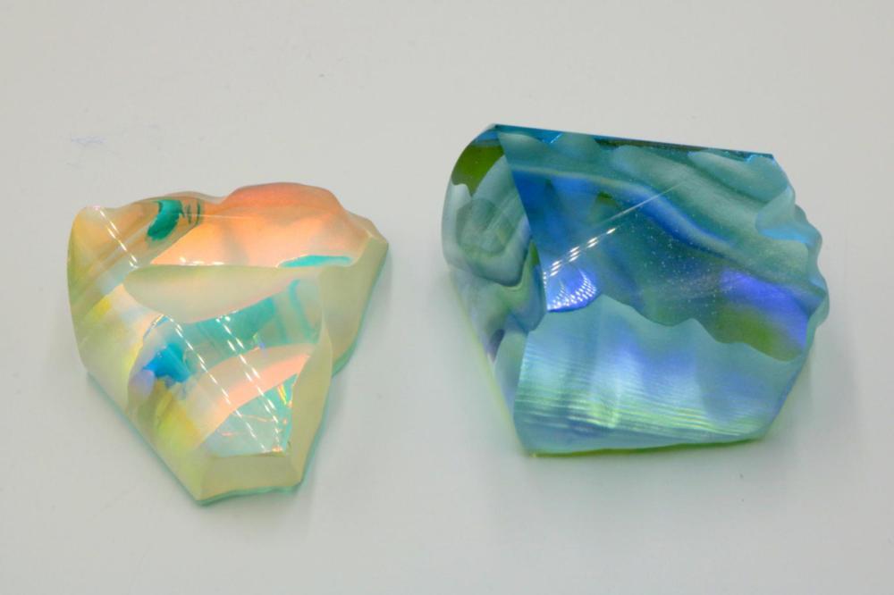 2 Pc. Ken Rains Art Glass Paperweights