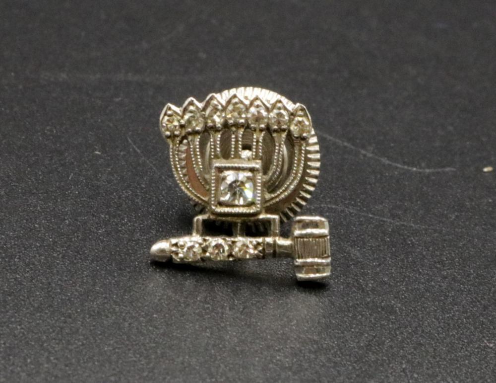 Judaica 14Kt Diamond Menorah Tie Tack