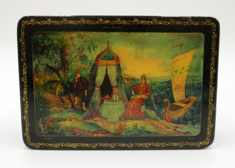 Russian Hand Painted Black Lacquered Box