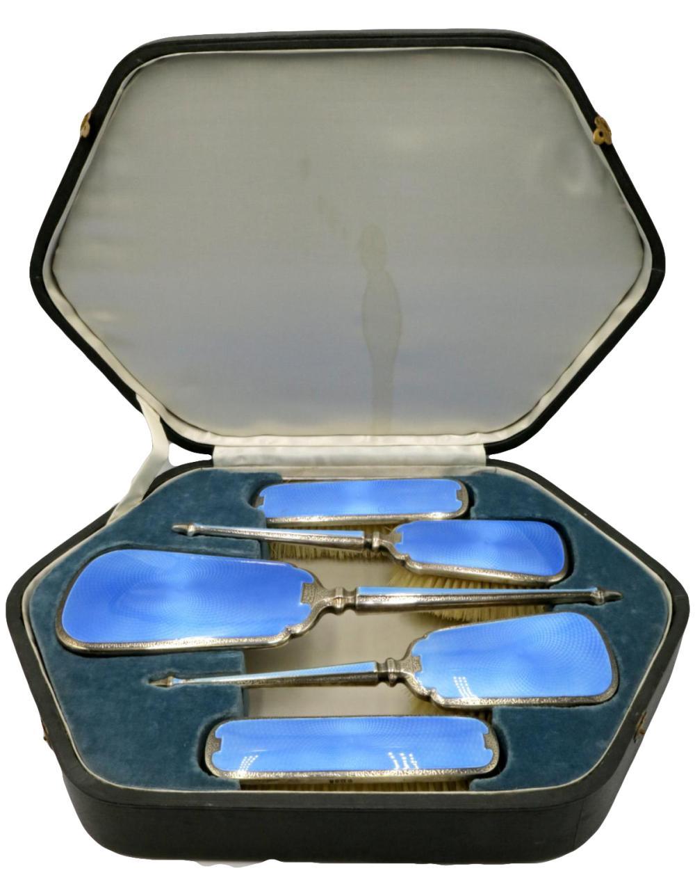 Rare George V Charles S. Green & Co. Sterling, Enamel Vanity Set
