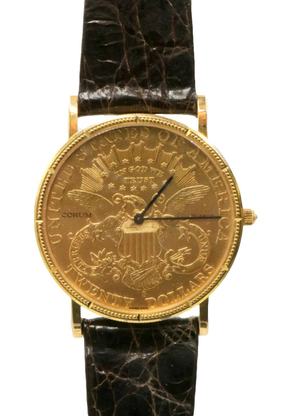 Corum 22Kt & 18Kt Coin & Crocodile Strap Watch