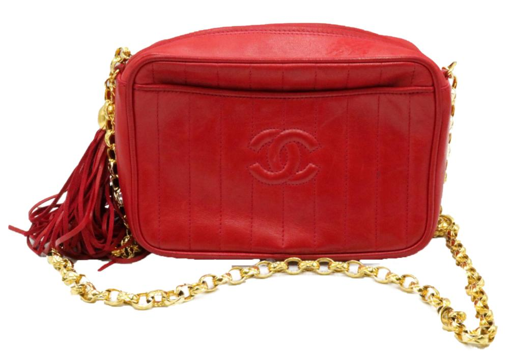 Beautiful Chanel Quilted Red Leather Purse