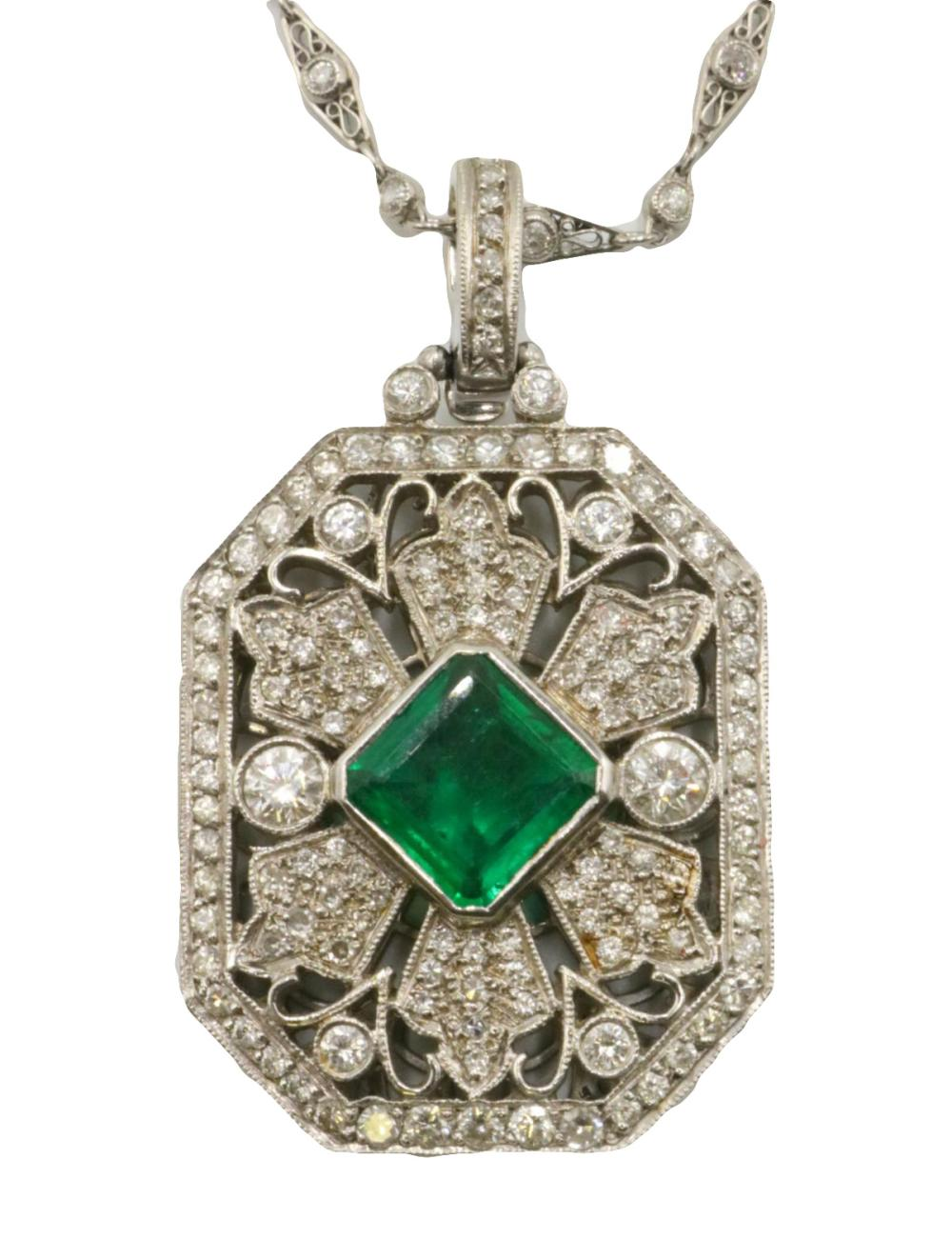 Platinum 4.04ct. Emerald & 4.63ct. Diamond Pendant w/ Necklace