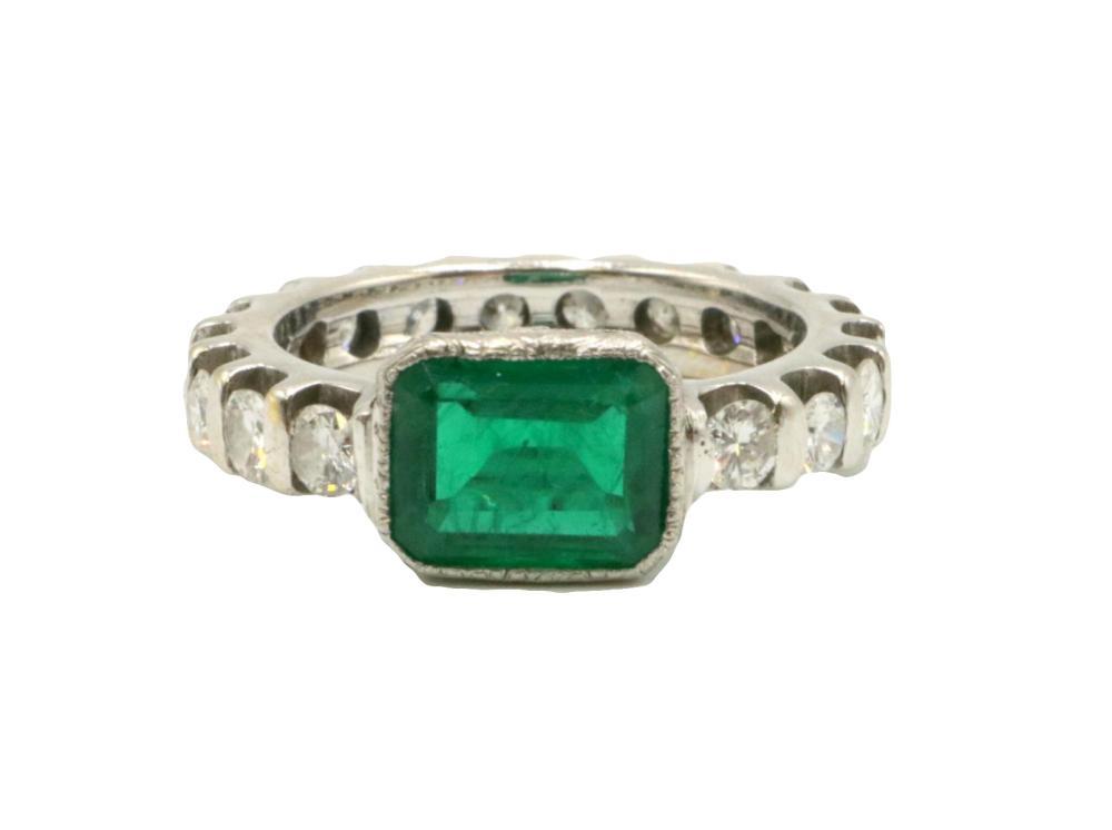 14Kt Emerald & Diamond Band